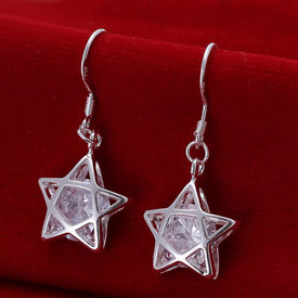 925 Sterling Silver Star Drop Dangle Earrings Hook Crystal  + Gift Bag