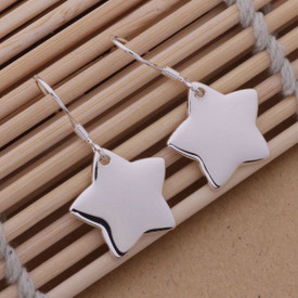 925 Sterling Silver Star Drop Dangle Earrings Hook  + Gift Bag