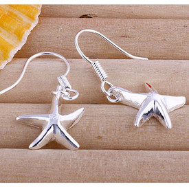 925 Sterling Silver Starfish Drop Dangle Earrings Hook  + Gift Bag