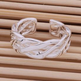 925 Sterling Silver Simple Weave Ring Adjustable + Gift Bag