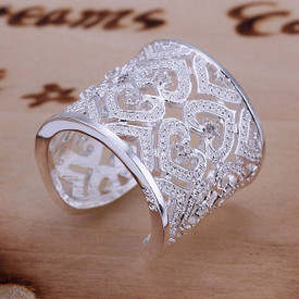 925 Sterling Silver Hollow Heart Woven Knit Ring Adjustable + Gift Bag