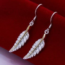 925 Sterling Silver Leaf/Feather Drop Dangle Earrings + Gold Band
