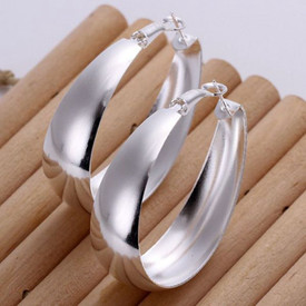 925 Sterling Silver Oval Egg  Hoop Earrings   + Gift Bag