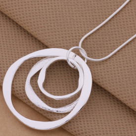 925 Sterling Silver Triple Circles Necklace + Gift Bag