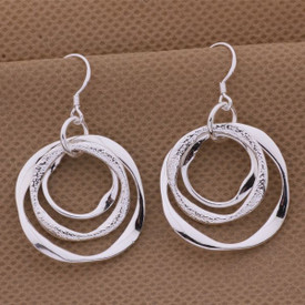 925 Marked Sterling Silver Triple Circle Drop Earrings  + Gift Bag