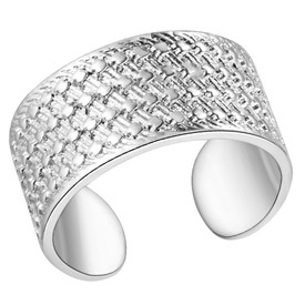 925 Sterling Simple Classic Silver Band Ring Adjustable + Gift Bag