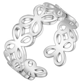 925 Sterling Simple Flower Silver Band Ring Adjustable + Gift Bag