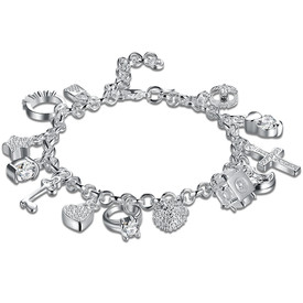 925 Sterling Silver 13 Charm  Bracelet 20cm + Gift Bag