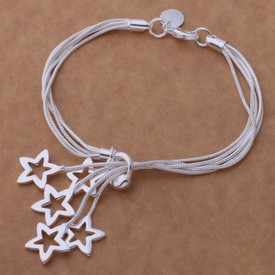 925 Silver 5 Strand Stars Charm Bracelet Bangle Adjustable 20cm