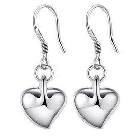 925 Solid Sterling Silver Heart Drop Hook Earrings  + Bag