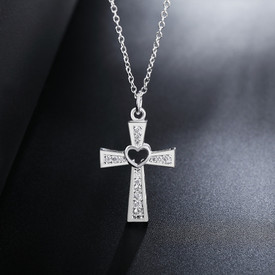 925 Sterling Silver Crystal CZ Cross Necklace  Pendant Chain 45cm