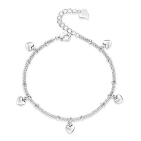 925 Sterling Silver Hearts Bracelet 17cm + Adjuster + Gift Bag