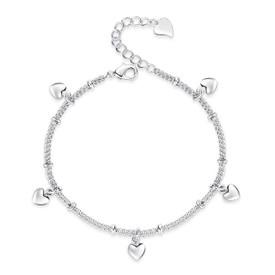 925 Sterling Silver Hearts Bracelet 17cm + Adjuster + Gift Bag