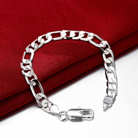 925 Sterling Silver Men's Figaro Curb Chain 8mm Bracelet 20cm + Gift Bag