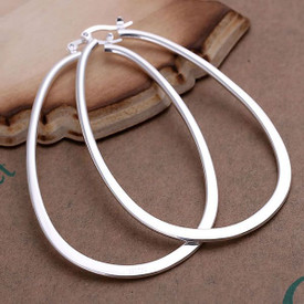 925 Sterling Silver U Shape Oval Hoop Earrings 70mm  + Gift Bag