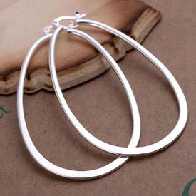 925 Sterling Silver U Shape Oval Hoop Earrings 70mm  + Gift Bag