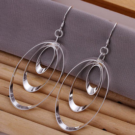 925 Sterling Silver Triple Hoop Oval Shape  Earrings 30mm  + Gift Bag