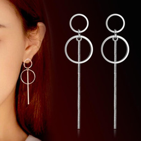 925 Sterling Silver Double Circle Long Tassel Wire  Earrings 60mm  + Gift Bag