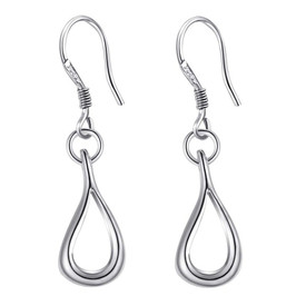 925 Solid Sterling Silver Hollow Tear Drop Hook Earrings  + Gift Bag UK