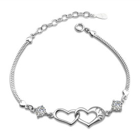 925 Sterling Silver Linked Hearts Bracelet + Crystal  16cm + 4cm Adjuster + Gift Bag