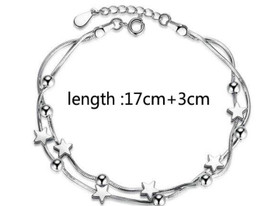 925 Sterling Silver Stars Beads Bracelet  17cm + 3cm Adjuster + Gift Bag