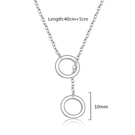 925 Sterling Silver Double Circles Necklace Choker 40cm + 5cm Eternity/Infinity/Karma  + Gift Bag