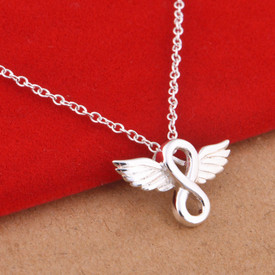 925 Sterling Silver Infinity Angel Wing Pendant Necklace  45cm + Gift Bag