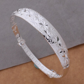 925 Silver Plated Diamond Cut Bangle/Bracelet Adjustable + Gift Bag