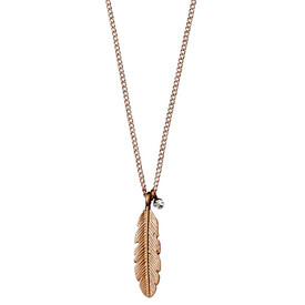 Pilgrim  Feather Necklace Rose Gold Plated Crystal 40cm + 9cm 601814001