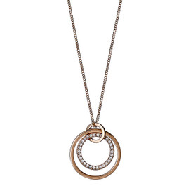 Pilgrim Double circle Necklace Gold Plated Crystal 50cm  611734001