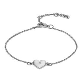 Pilgrim Heart  Bracelet Silver Plated Crystal 17cm + 3cm  601826042