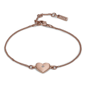 Pilgrim Heart  Bracelet Rose Gold Plated Crystal 17cm + 3cm  601824042