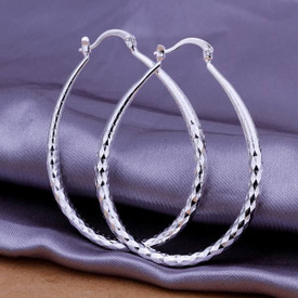 925 Sterling Silver Oval Hoop Earrings Diamond Cut 50mm x 40mm   + Bag