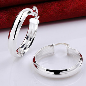 925 Sterling Silver Solid Thick Hoop Earrings  30mm  + Gift Bag