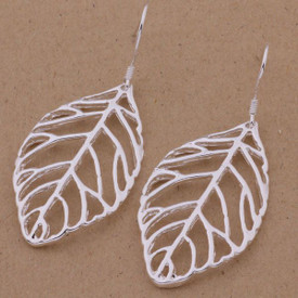 925 Silver Hollow Leaf/Feather Drop Earrings  30mm x 20mm + Gift Bag