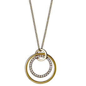 Pilgrim Double Circle Necklace Gold Plated Crystal 50cm  611732001