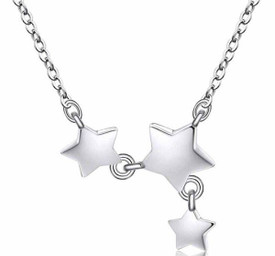 925 Sterling Silver Plated Triple Stars Necklace Choker 38cm + 5cm  + Gift Bag