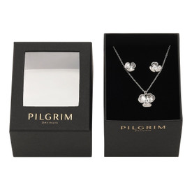 Pilgrim Flower Necklace + Stud Earrings Set Silver Plated