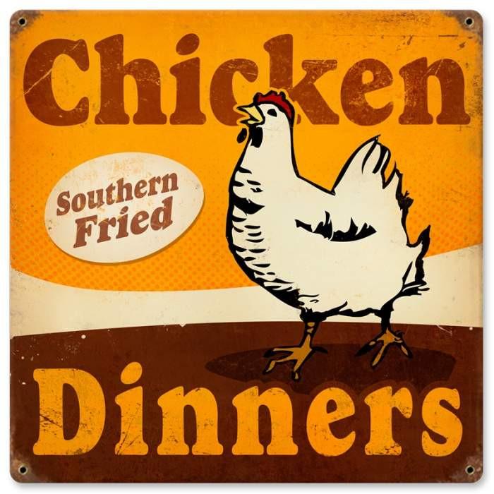 Vintage Chicken Dinners Metal Sign