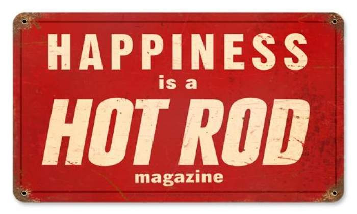 Vintage Hot Rod Happiness Metal Sign