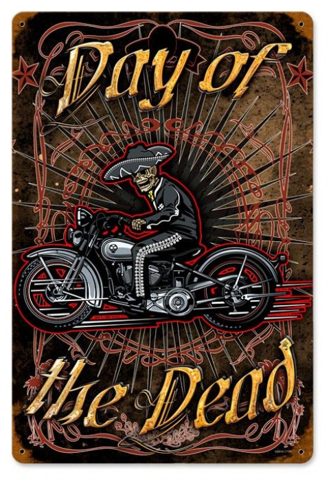 Retro Day Of The Dead Tin Sign