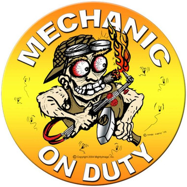 Vintage Mechanic On Duty Round Metal Sign