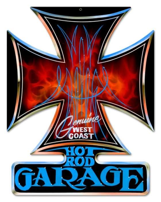Vintage Hot Rod Garage Iron Cross Metal Sign