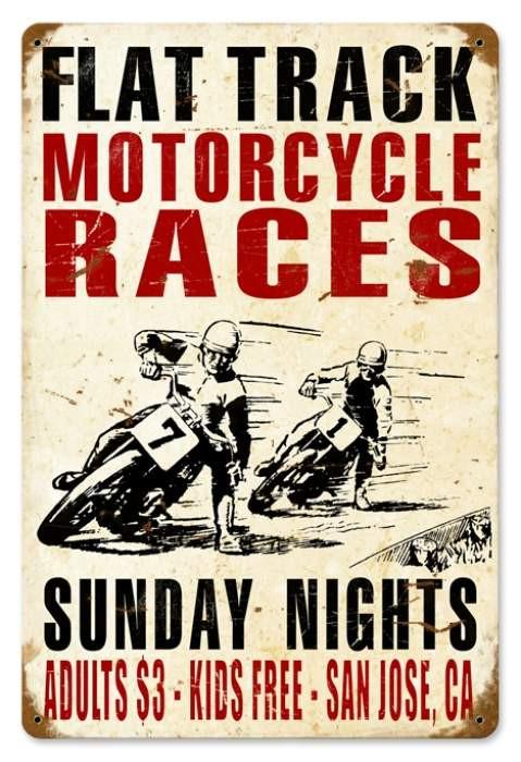 Vintage Motorcycle Races Metal Sign 1