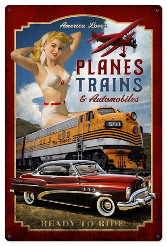 Personalized Street Signs >> Planes Trains Automobiles Pinup Girl Metal Sign 24 x 36 Inches
