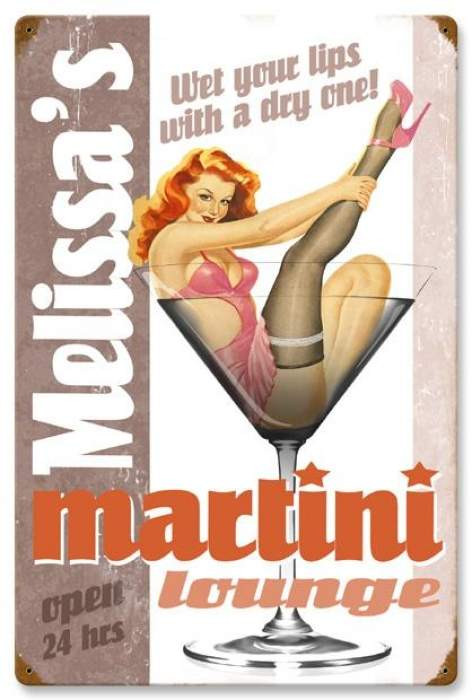Retro Martini Lounge Pin Up Girl Metal Sign Personalized