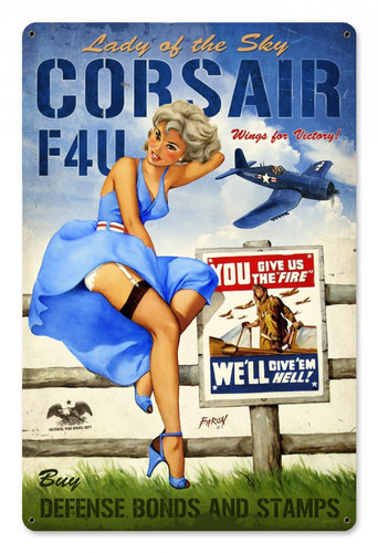 Personalized Street Signs >> Corsair F4U Pinup Girl Metal Sign 18 x 12 Inches