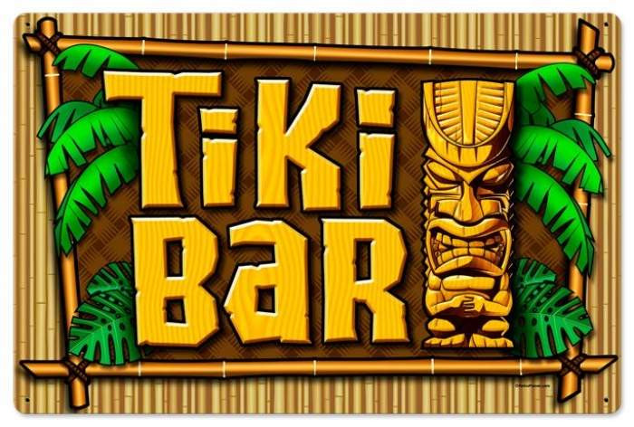 Retro Tiki Bar Tin Sign Large