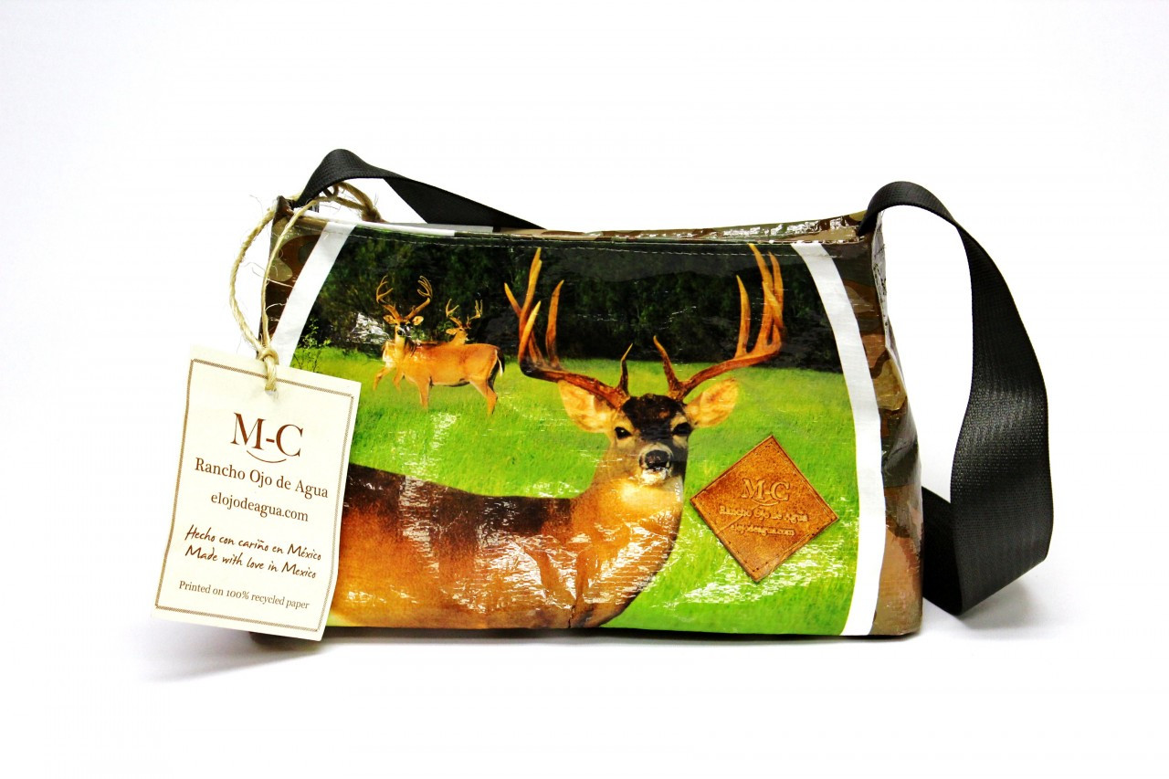 Recycled Feed Bag Purse Deer With Brown Camo