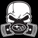 White Subie Gas Mask Skull - Acrylic Sticker (actual decal colors may be slightly different)